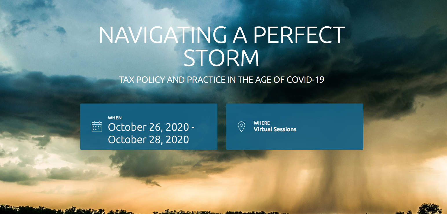 TEI 75th Annual Conference is themed Navigating a Perfect Storm: Tax Policy & Practice in the Age of COVID-19, image of stormy sky with sunlight below