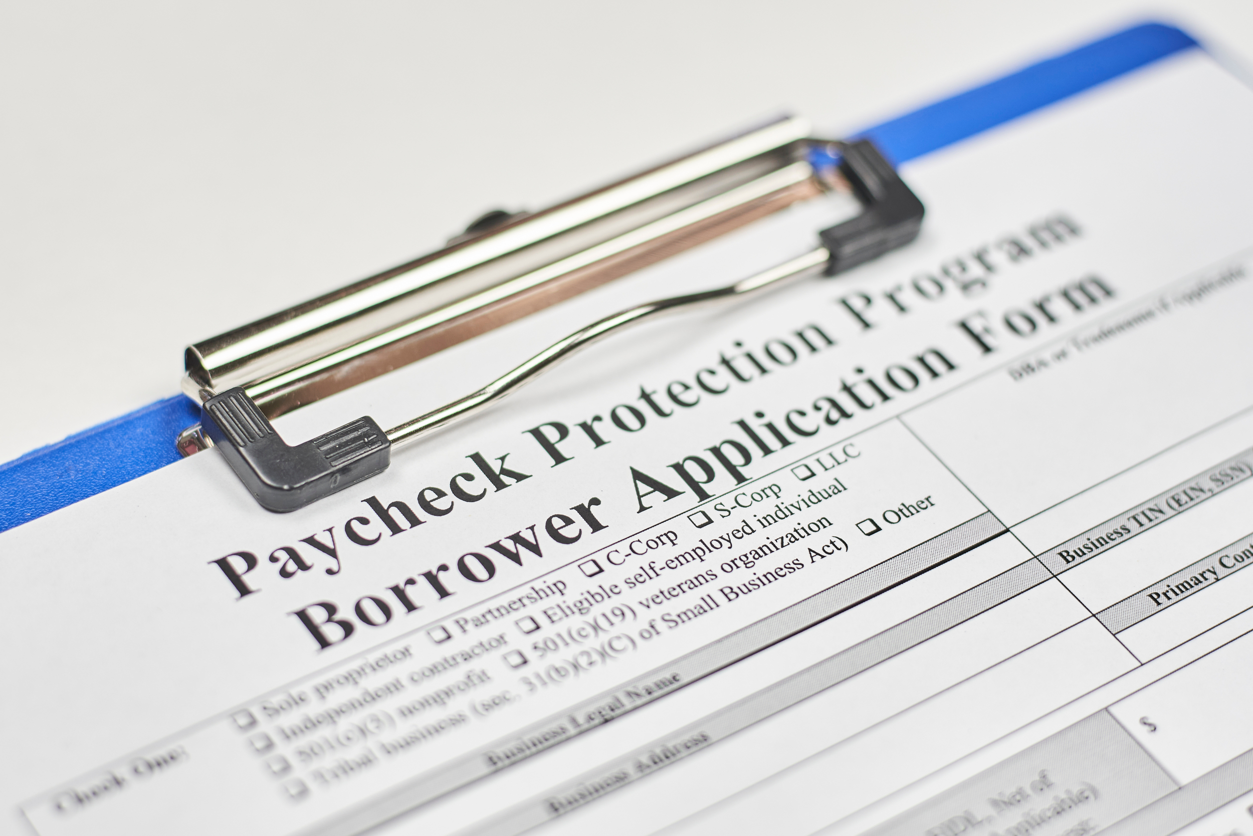 DST Advisory Group Blog Post - Clipboard with Paycheck Protection Program (PPP) Application Form attached