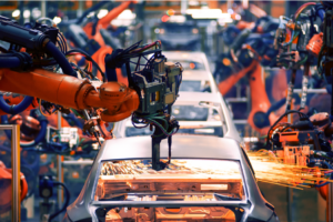 Industry 4.0 - Automated robotics assembling cars